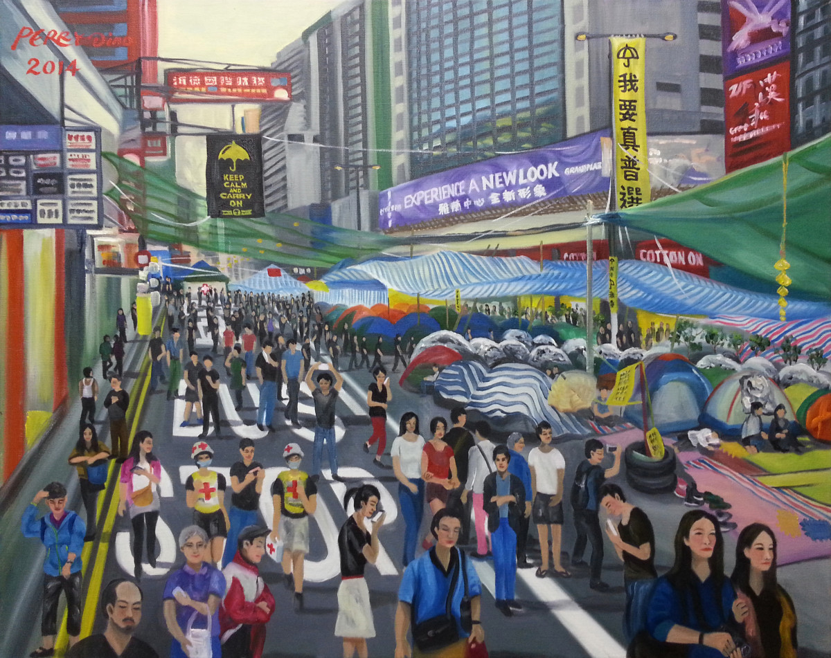 Occupy Central—Tents on Nathan Road, Mongkok, by Perry Dino; oil on canvas, November 16th, 2014.