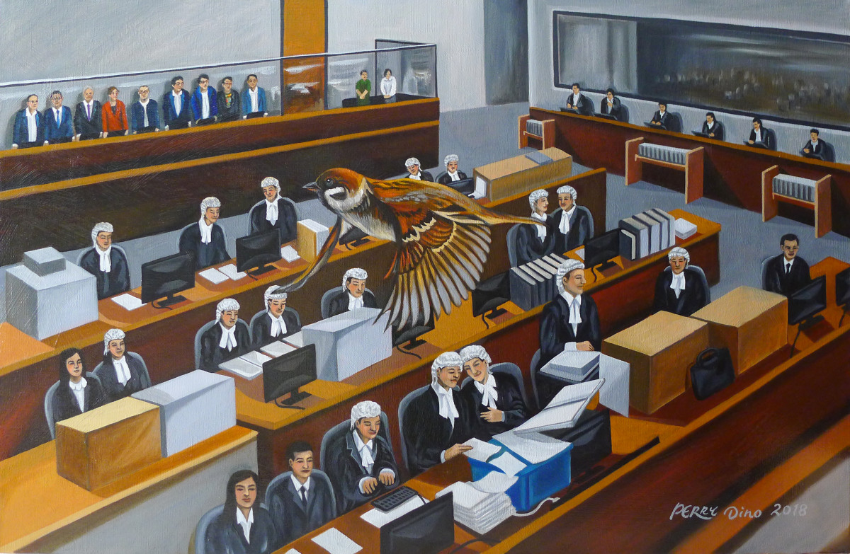 Nine Umbrella Movement activists in court #3, West Kowloon Law Courts Building, by Perry Dino; oil on canvas, November 19th-30th, 2018.