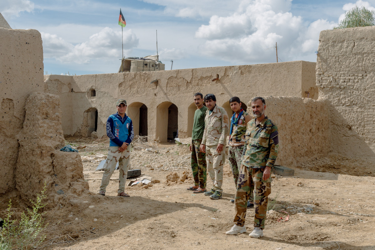 Afghan National Army soldiers stand inside their outpost in April of 2019. Manning an outpost is often dangerous, as the Taliban will sometimes amass their forces and overwhelm the handful of soldiers positioned there. The threat of insider attacks makes outpost duty even more harrowing.