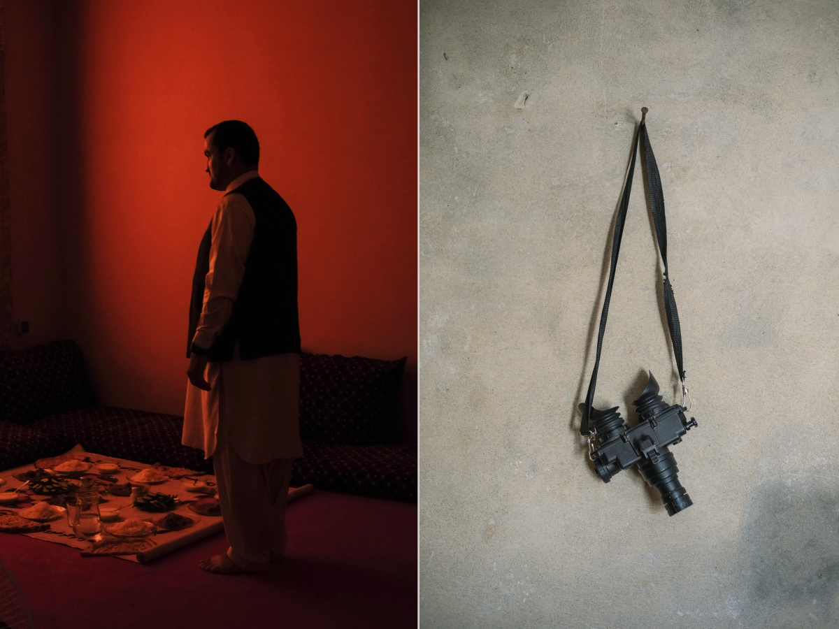 Left: A government official prepares to share lunch with the author and other journalists in Lashkar Gah. Right: A pair of night vision goggles, purchased by Major Rasouly, hang from a peg in his office at his brigade camp.