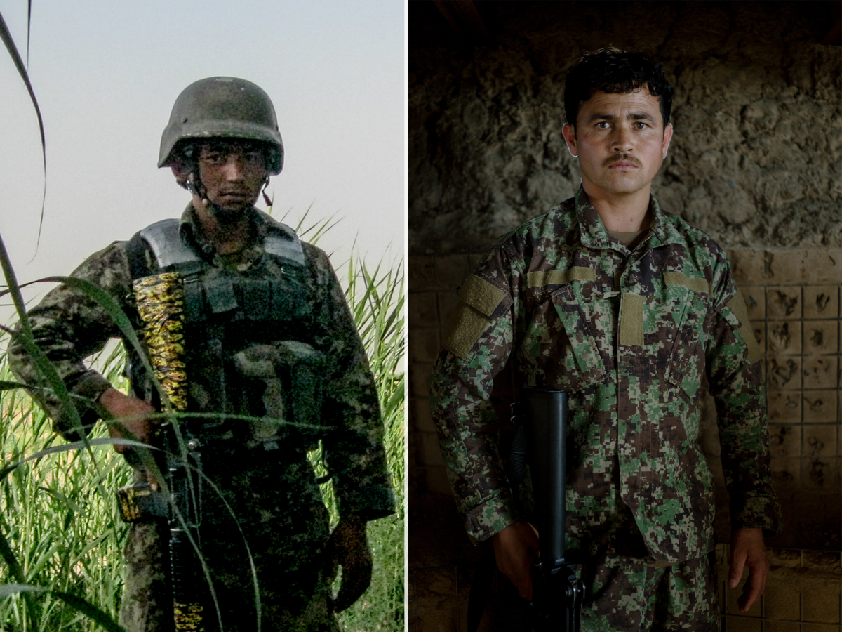 Left: An Afghan National Army soldier on patrol with the author's squad in Marjah during the spring of 2011. Right: An Afghan National Army soldier standing guard duty at his brigade's headquarters in April of 2019.