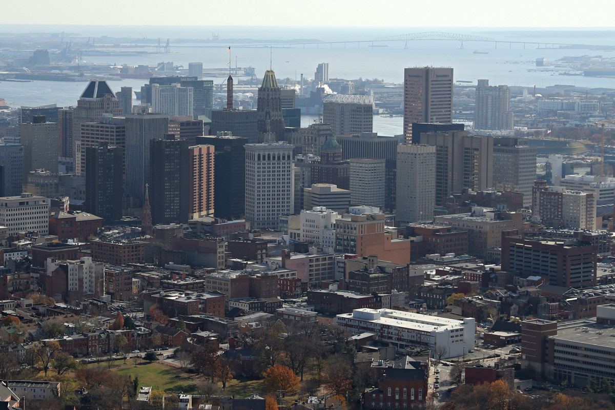 An aerial view of Baltimore's skyline.