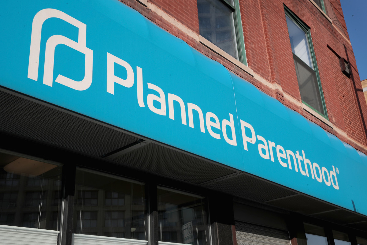 A sign hangs above a Planned Parenthood clinic on May 18th, 2018, in Chicago, Illinois.