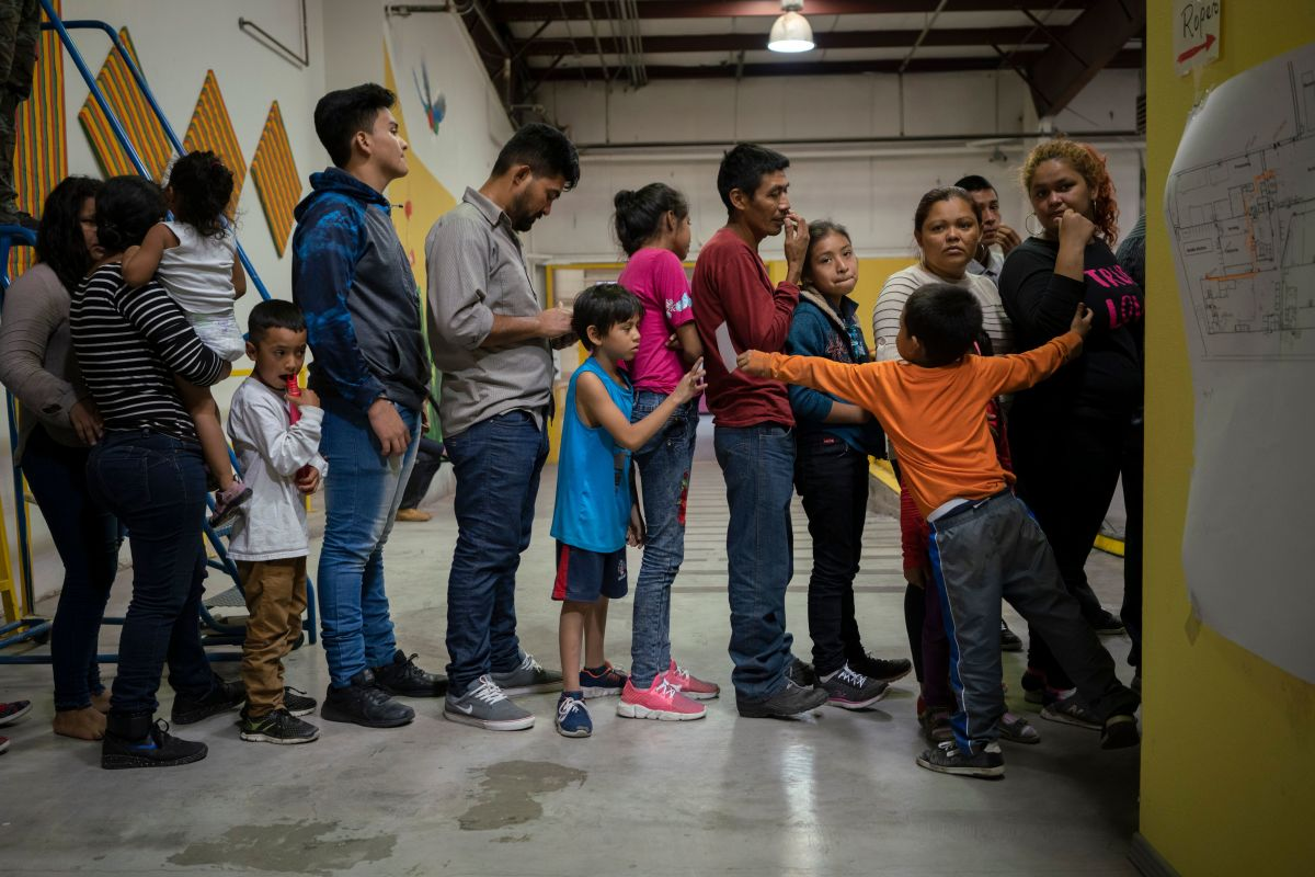 Migrant children from different Latin American wait to receive food at the Casa del Refugiado, or The House of Refugee, in El Paso, Texas, on April 24th, 2019.