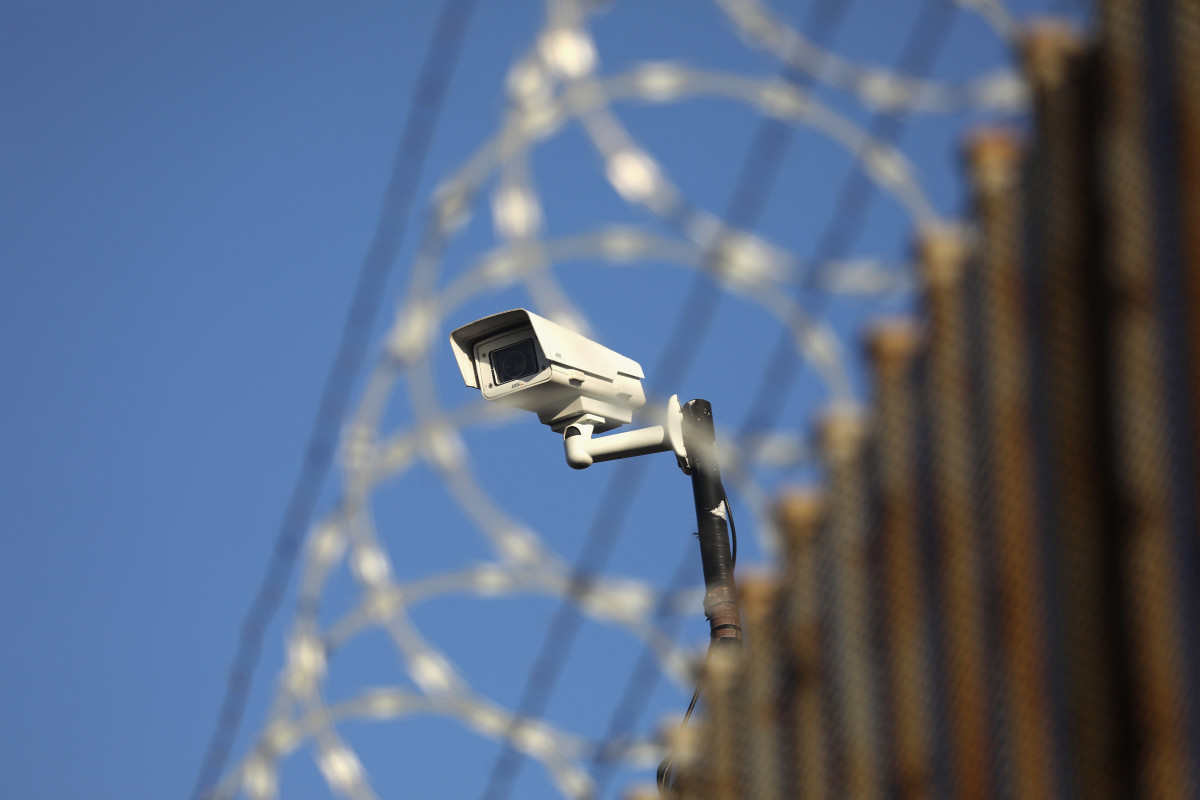 A United States surveillance camera overlooks the international bridge between Mexico and the U.S. in Hidalgo, Texas.