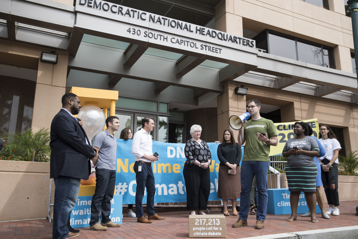Jack Shapiro speaks in front of the Democratic National Committee headquarters during a Greenpeace rally to call for a presidential campaign climate debate on June 12th, 2019, in Washington, D.C. DNC Chairman Tom Perez rejected a request from Democratic presidential candidate and Washington Governor Jay Inslee to host a 2020 presidential debate focused solely on climate change.
