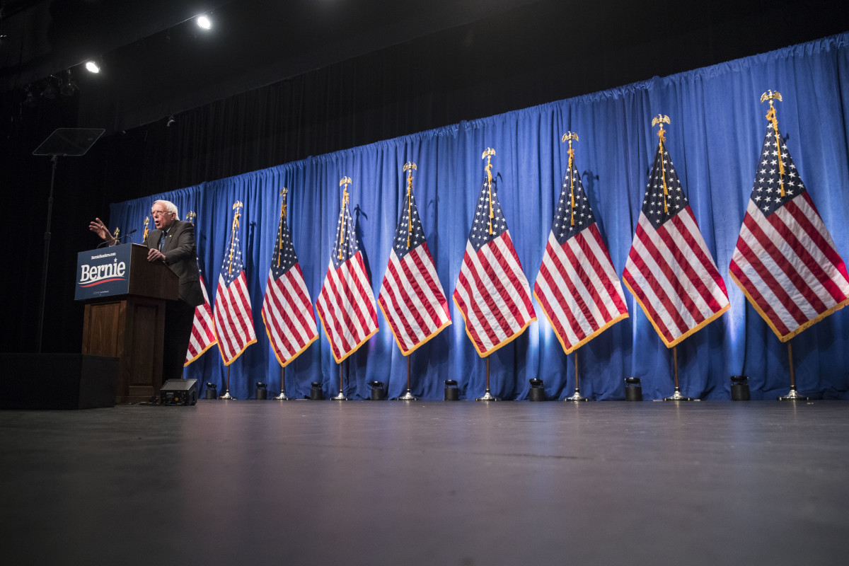 Democratic presidential candidate Senator Bernie Sanders delivers remarks about democratic socialism at a campaign function at George Washington University on June 12th, 2019, in Washington, D.C.