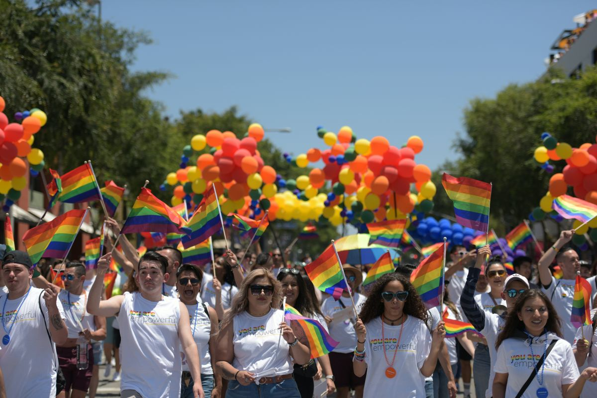 People participate in the annual Los Angeles Pride Parade in West Hollywood, California, on June 9th, 2019. L.A. Pride began on June 28th, 1970, exactly one year after the historic Stonewall Rebellion in New York City, 50 years ago.
