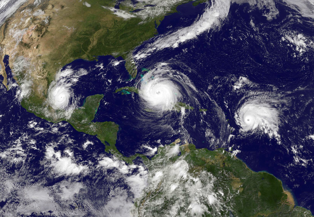 Hurricane Irma (C) in the Caribbean Sea, Tropical Storm Jose (R) in the Atlantic Ocean, and Tropical Storm Katia (L) in the Gulf of Mexico taken at 15:45 UTC on September 8th, 2017.