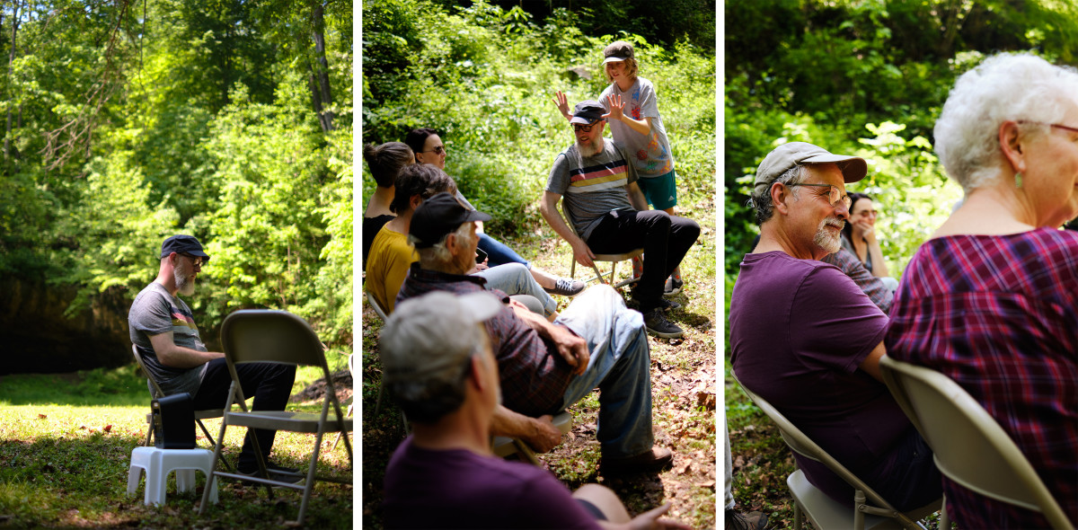 "Left: Brian Harnetty during a Forest Listening Room at Robinson's Cave in Wayne National Forest in May. | Middle: Harnetty's son, Henry, goofs around during the discussion portion. | Right: Historian John Winnenberg: ""We can't rebuild this area or make the quality of life here better without some help from new people coming in. But it has to be people like Brian who respect people here."""