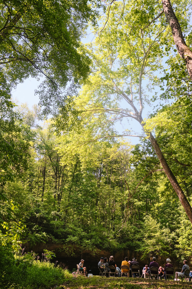 A Forest Listening Room at Robinson's Cave in Wayne National Forest in May.