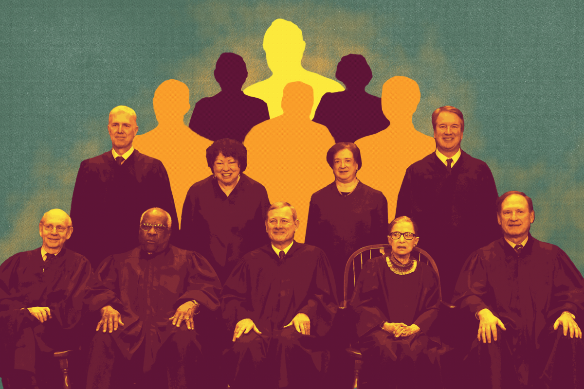 United States Supreme Court (front L-R) Associate Justice Stephen Breyer, Associate Justice Clarence Thomas, Chief Justice John Roberts, Associate Justice Ruth Bader Ginsburg, Associate Justice Samuel Alito, Jr., (back L-R) Associate Justice Neil Gorsuch, Associate Justice Sonia Sotomayor, Associate Justice Elena Kagan, and Associate Justice Brett Kavanaugh.