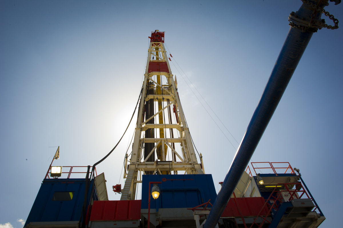 A rig explores the Marcellus Shale.