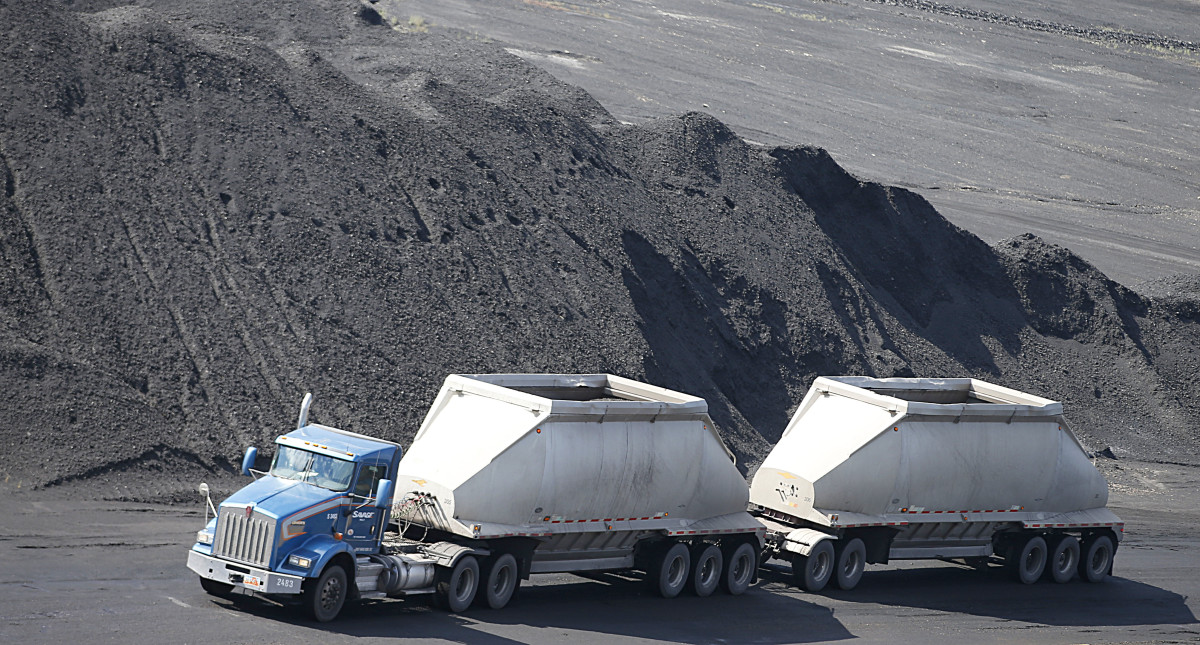 A coal truck transports coal in Price, Utah.