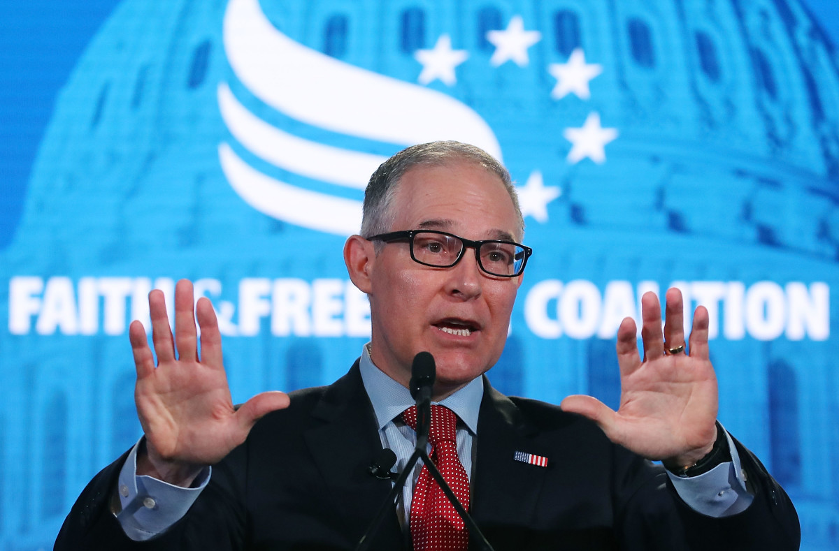 Then-EPA Administrator Scott Pruitt speaks at the Faith and Freedom Coalition Road to Majority Conference on June 8th, 2018, in Washington, D.C. Pruitt eventually stepped down after facing multiple ethics scandals from his actions at the agency.