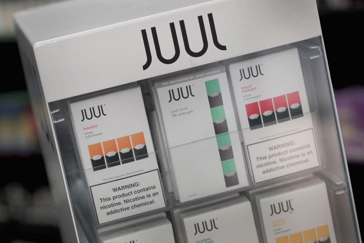 Electronic cigarettes and pods by Juul, the nation's largest maker of vaping products, are offered for sale at the Smoke Depot on September 13th, 2018, in Chicago, Illinois.