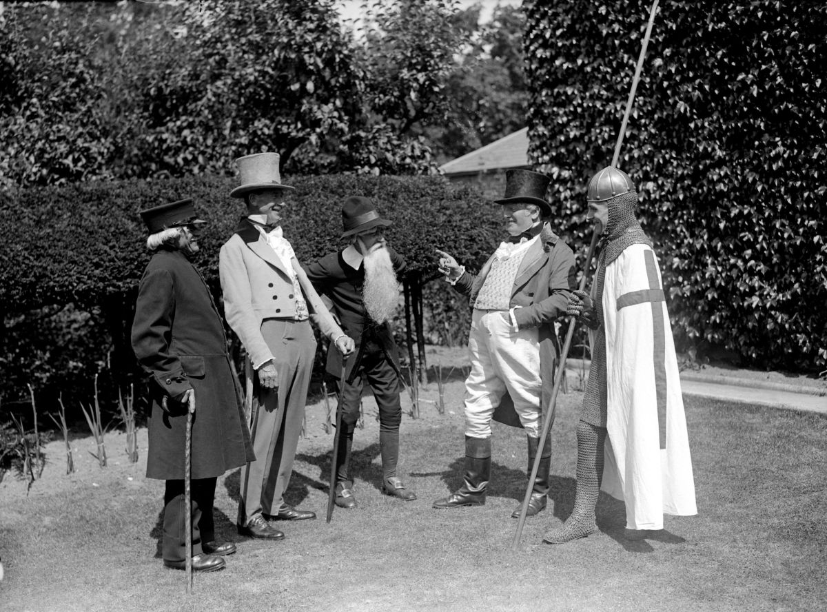 A group of gentlemen in period costume take part in the British Empire Fair and Pageant in Deal, England, on August 14th, 1929.