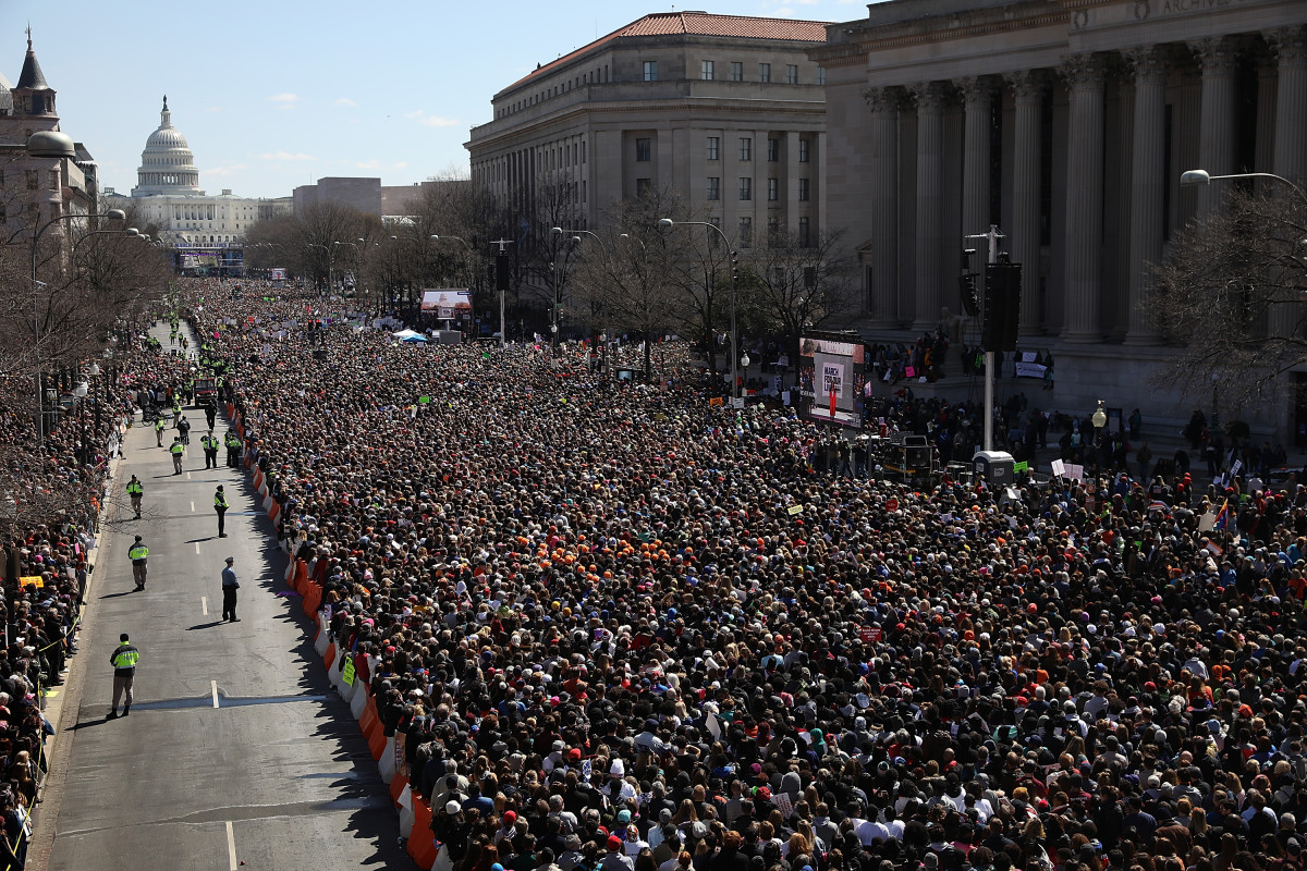 Gun-reform advocates line Pennsylvania Avenue while attending the March for Our Lives rally on March 24th, 2018, in Washington, D.C.