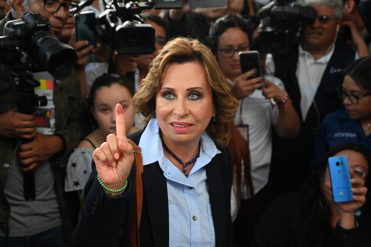 Guatemalan candidate for the National Union of Hope (La Unidad Nacional de la Esperanza) Party, Sandra Torres, shows her inked finger at a polling station in Guatemala City on June 16th, 2019, during general elections. Torres has been accused of criminal association and campaign finance violations (charges she denies).