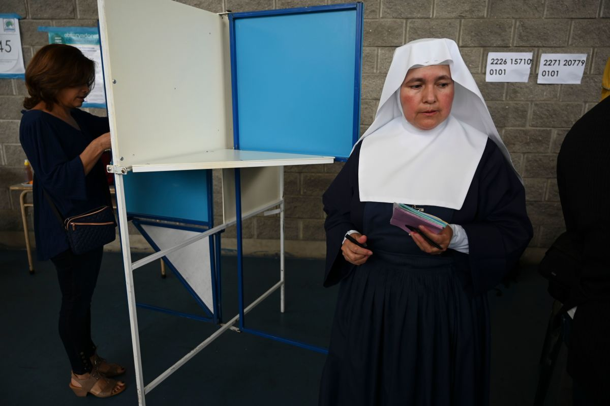 A nun votes at a polling station in Guatemala City on June 16th, during general elections.