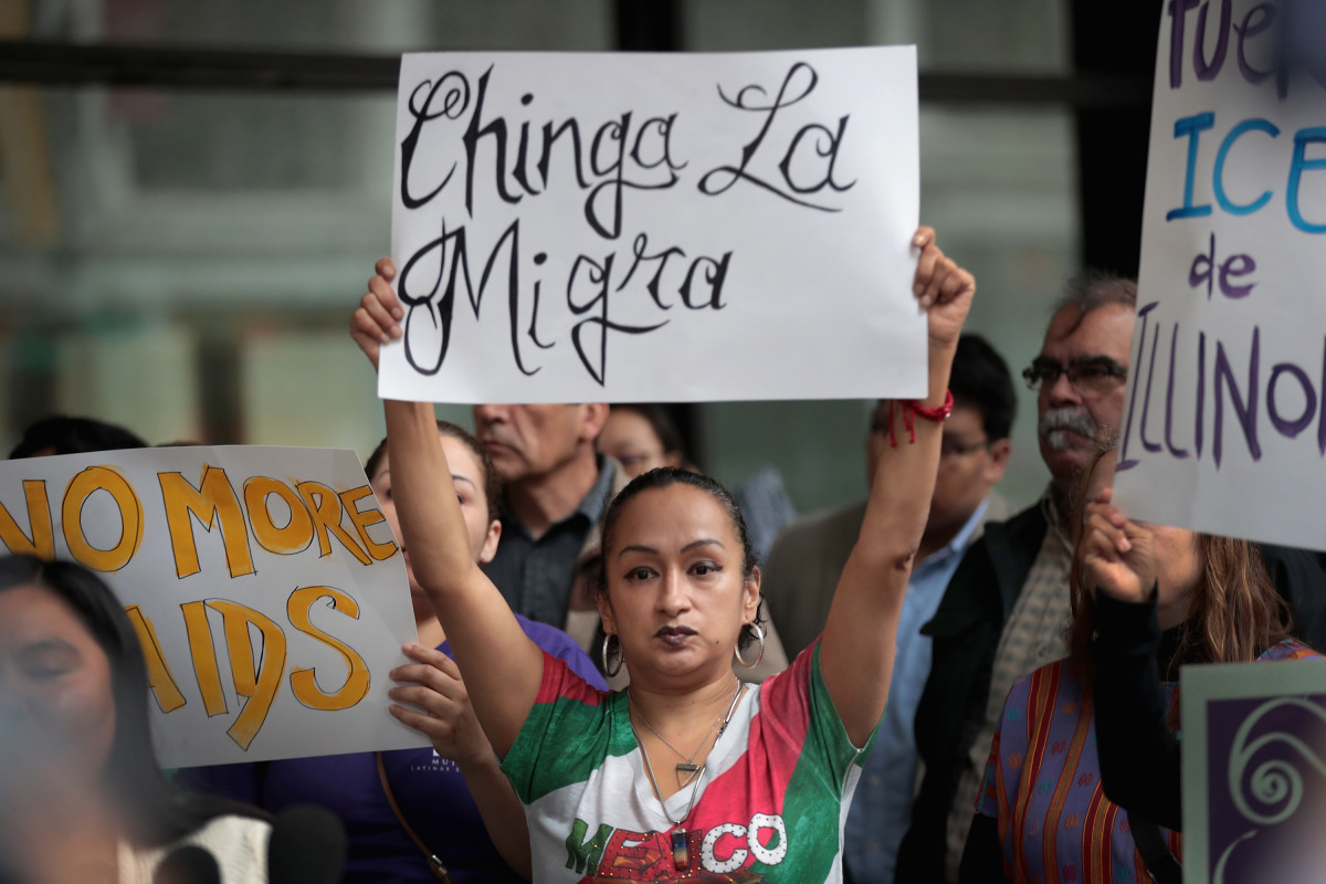 Family members of detainees and community activists rally outside of the Dirksen Federal Building following a court hearing on June 11th, 2018, in Chicago, Illinois. The family members and activists filed suit in federal court claiming Immigration and Customs Enforcement was racially profiling in their communities.