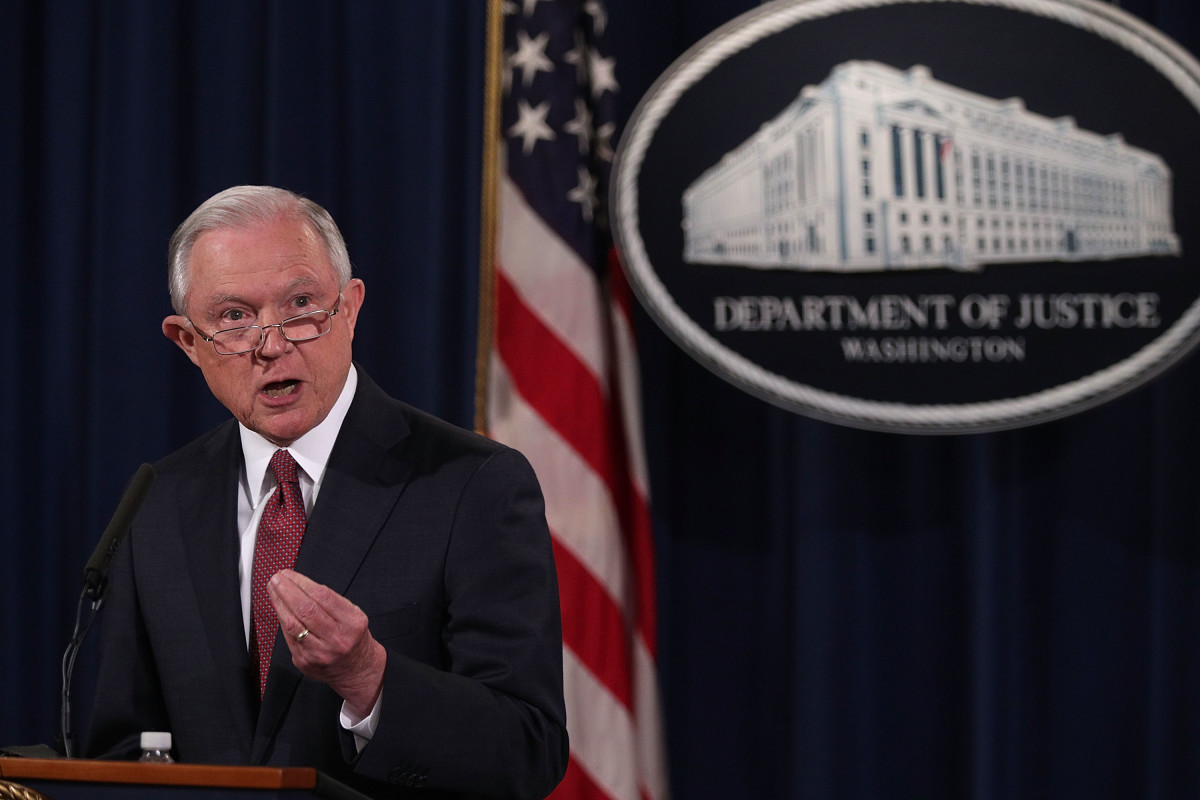 Then-Attorney General Jeff Sessions speaks on immigration at the Department of Justice on September 5th, 2017, in Washington, D.C.