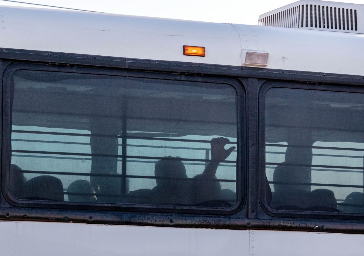 A bus transporting immigrants leaves a temporary facility at a U.S. Border Patrol Station in Clint, Texas, on June 21st, 2019. Lawyers who toured the facility said they witnessed inhumane conditions.