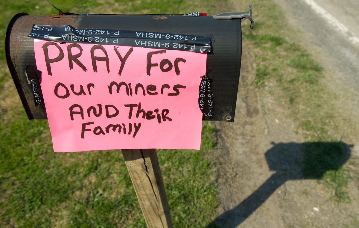 A sign for prayer posted on a mailbox near the entrance to the Upper Big Branch coal mine owned by Massey Energy Company and operated by Performance Coal Company in Montcoal, West Virginia, on April 6th, 2010.