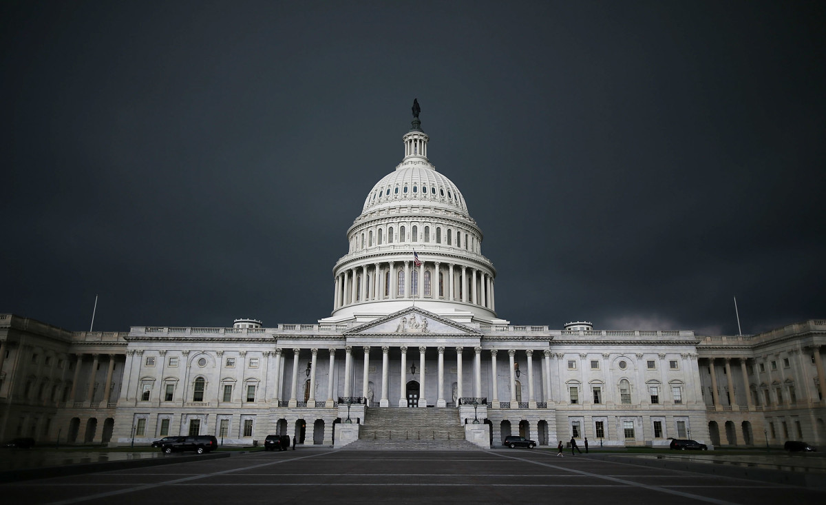 Storm clouds fill the sky over the U.S. Capitol Building.
