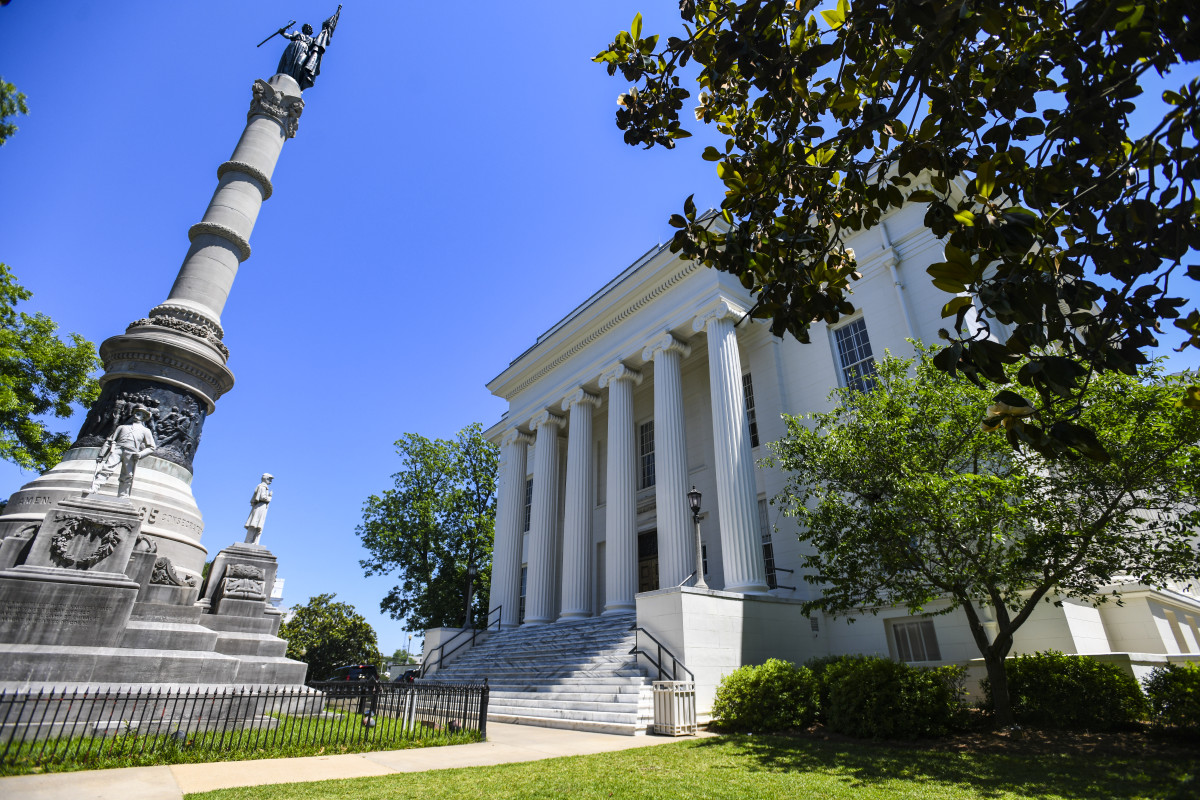 The Confederate Memorial stands outside the governor's office at the Alabama State Capitol on May 15th, 2019, in Montgomery, Alabama, the day that Alabama Governor Kay Ivey signed a near-total ban on abortion into state law.