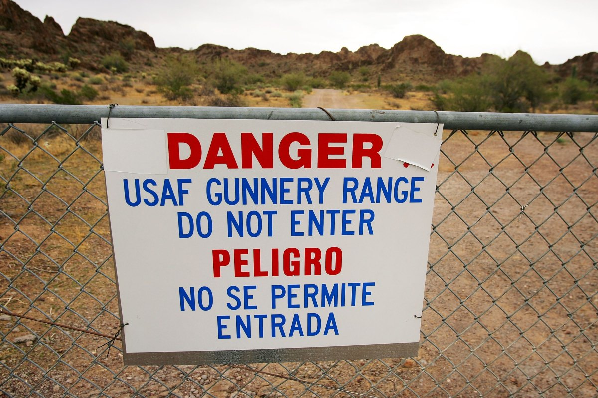 A signs warns of danger on the Barry M. Goldwater Air Force Range, in Arizona, one of several live aerial bombing ranges that undocumented migrants often walk through.