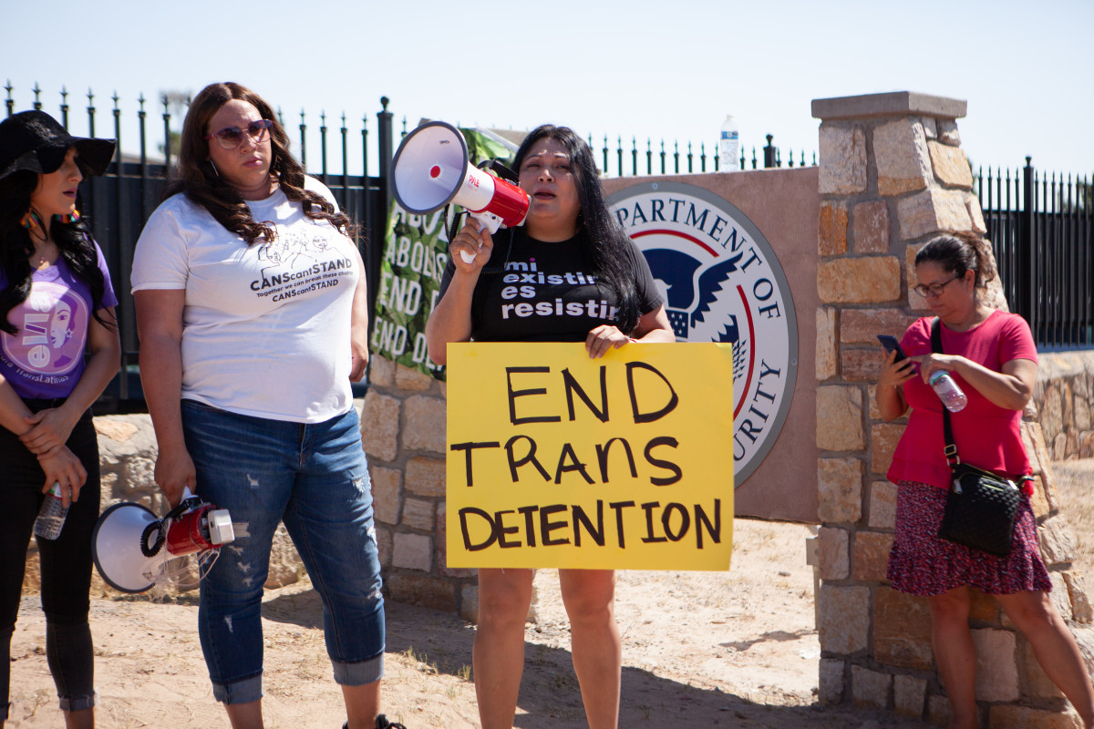Jennicet Gutiérrez, a prominent trans undocumented activist and founding member of Familia: TQLM, gives a speech in front of the El Paso Processing Center.