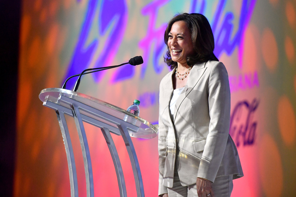 Kamala Harris speaks on stage at the 2019 Essence Festival at the Ernest N. Morial Convention Center on July 6th, 2019, in New Orleans, Louisiana.