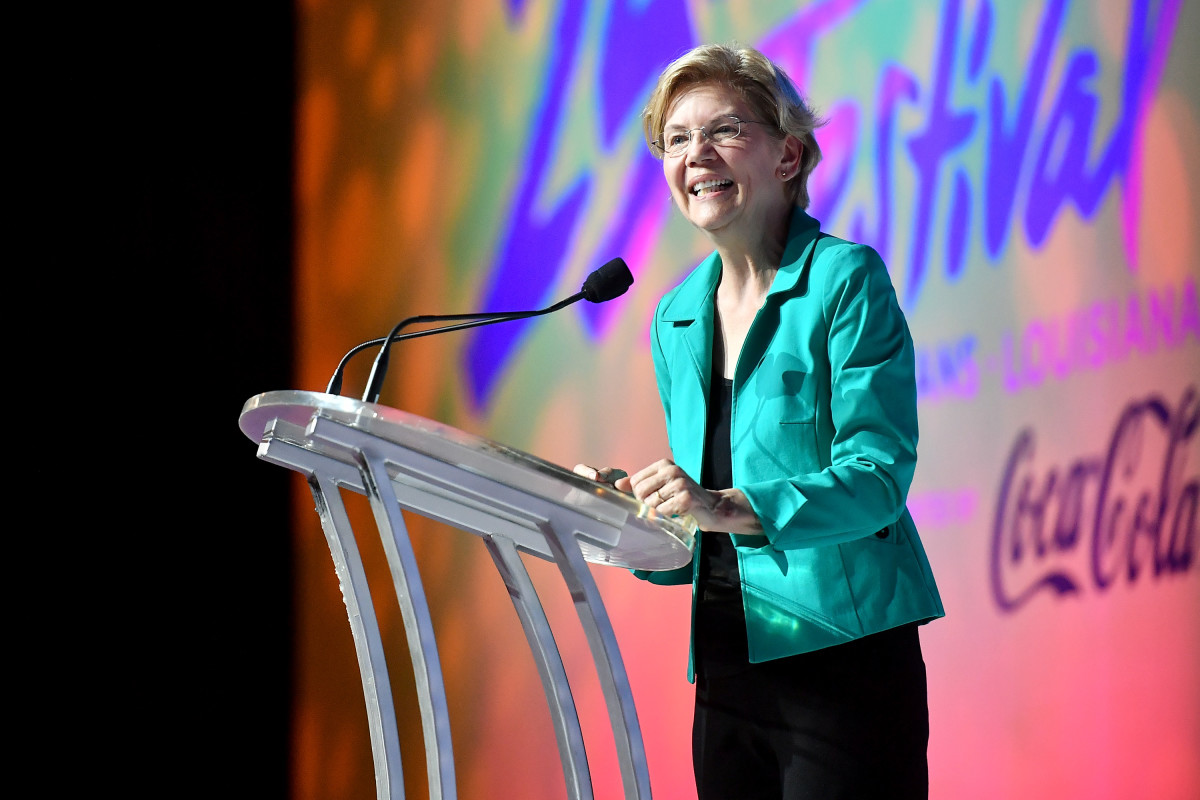 Senator Elizabeth Warren speaks on stage at the 2019 Essence Festival at the Ernest N. Morial Convention Center on July 6th, 2019, in New Orleans, Louisiana.