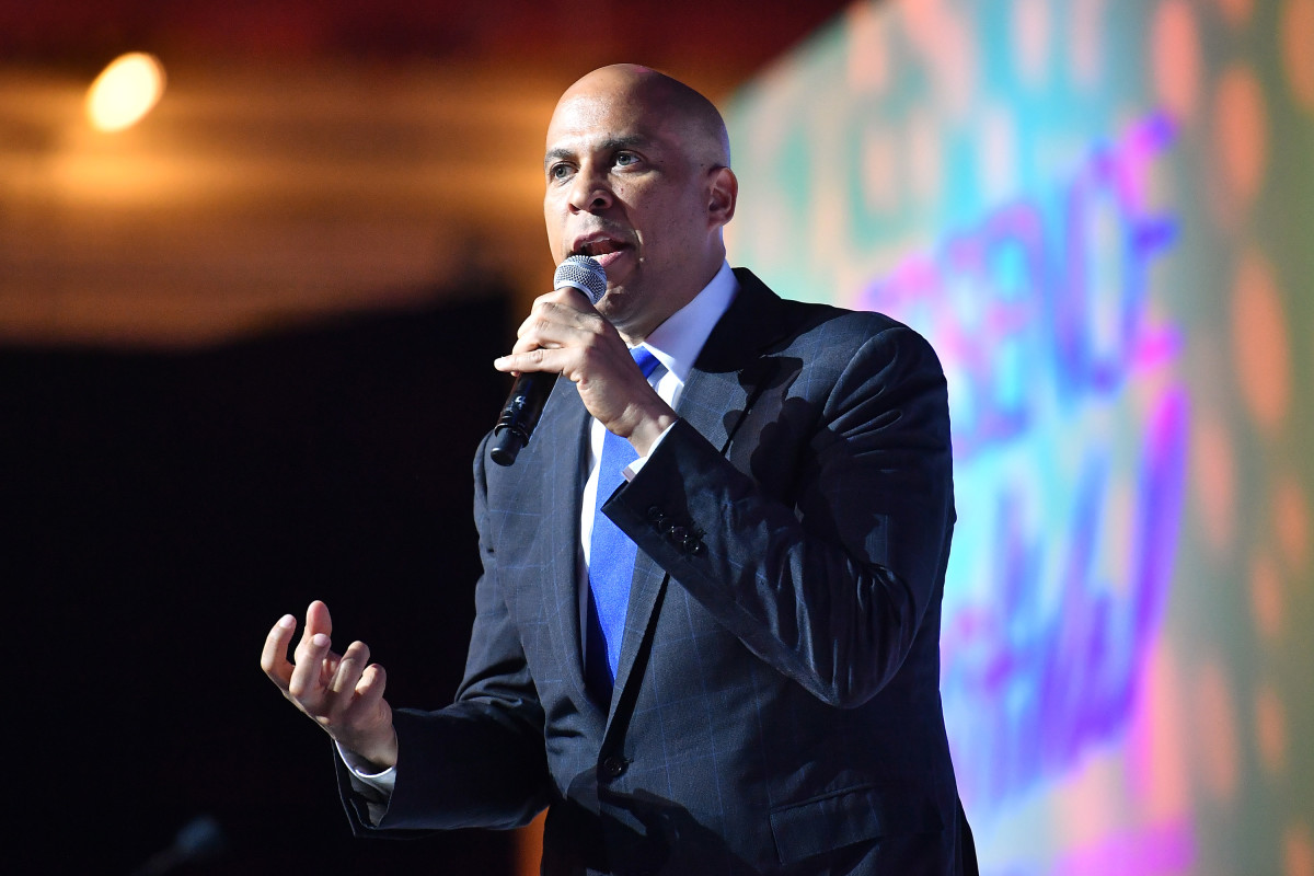 Cory Booker speaks on stage at the 2019 Essence Festival at the Ernest N. Morial Convention Center on July 6th, 2019, in New Orleans, Louisiana.