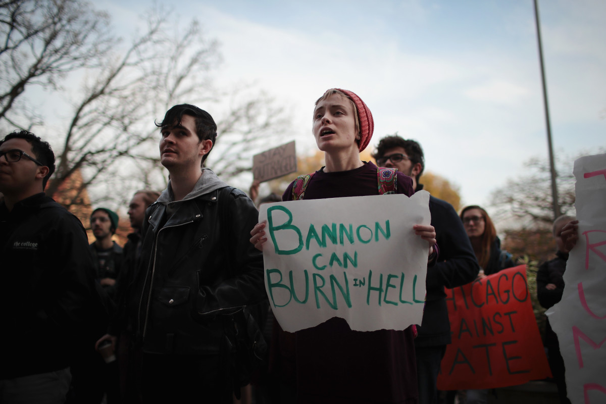 Students at the University of Chicago participate in a walk-out and rally to protest Steve Bannon in Chicago, Illinois, on November 15th, 2016.