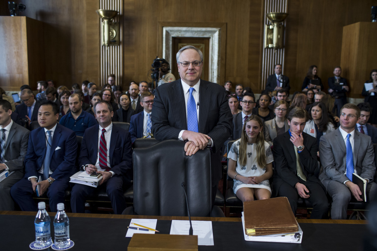 Then-nominee to be Secretary of the Interior David Bernhardt testifies during a Senate Energy and Natural Resources Committee confirmation hearing on March 28th, 2019, in Washington, D.C.