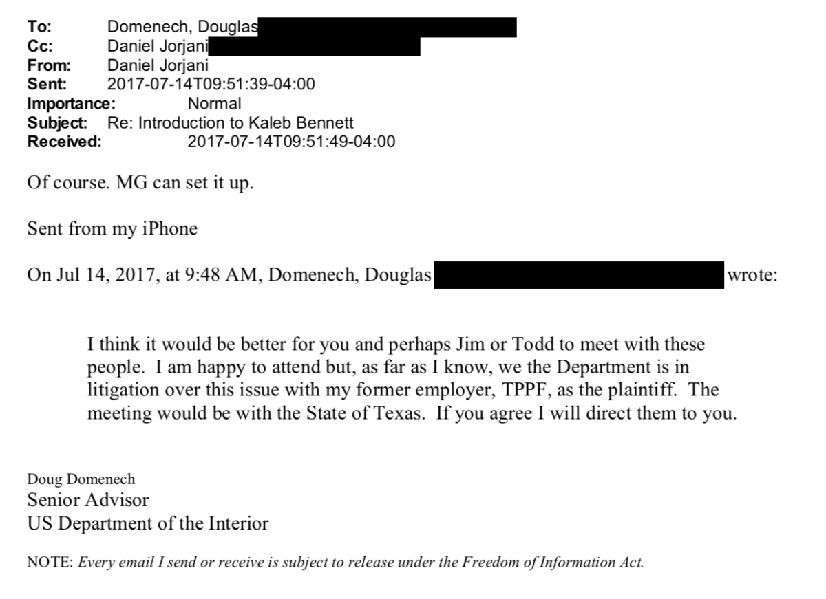 Douglas Domenech's email to Daniel Jorjani.