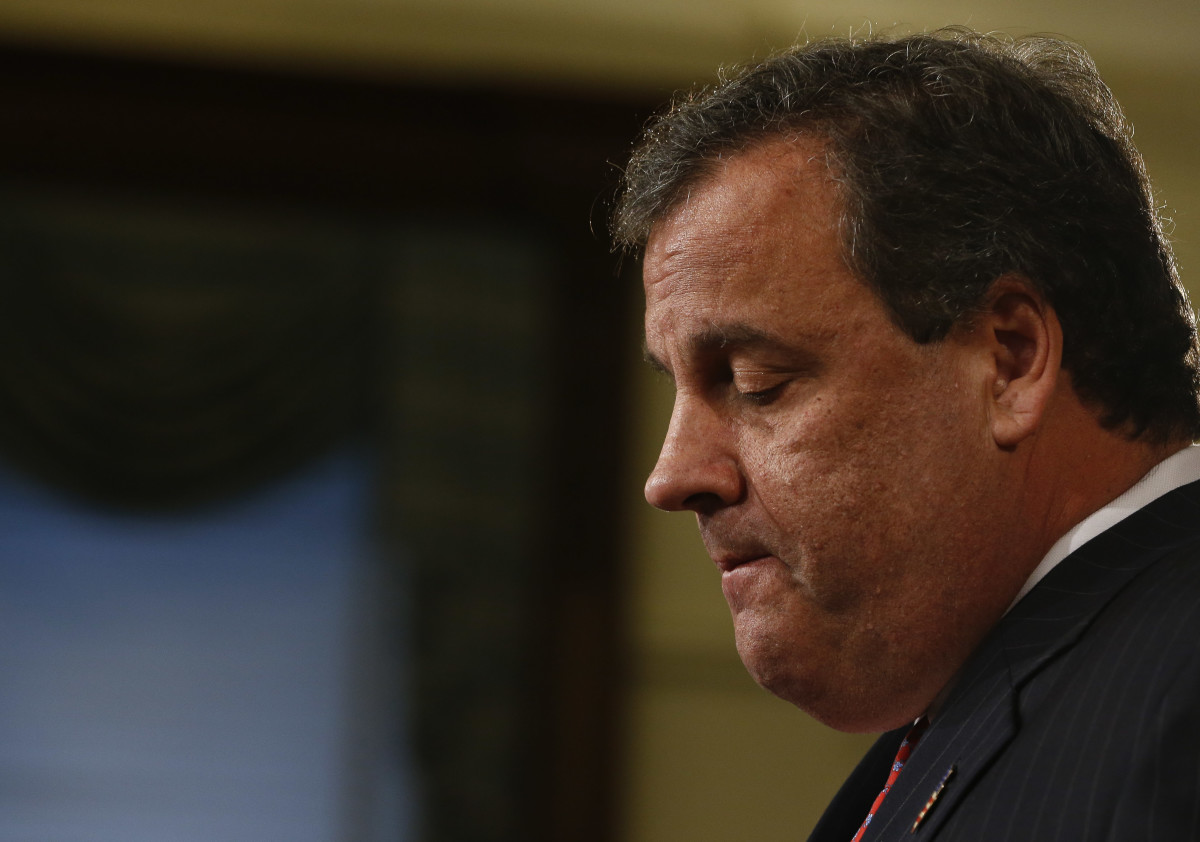 New Jersey Governor Chris Christie speaks about his knowledge of a study that snarled traffic at the George Washington Bridge during a news conference on January 9th, 2014, at the statehouse in Trenton, New Jersey.