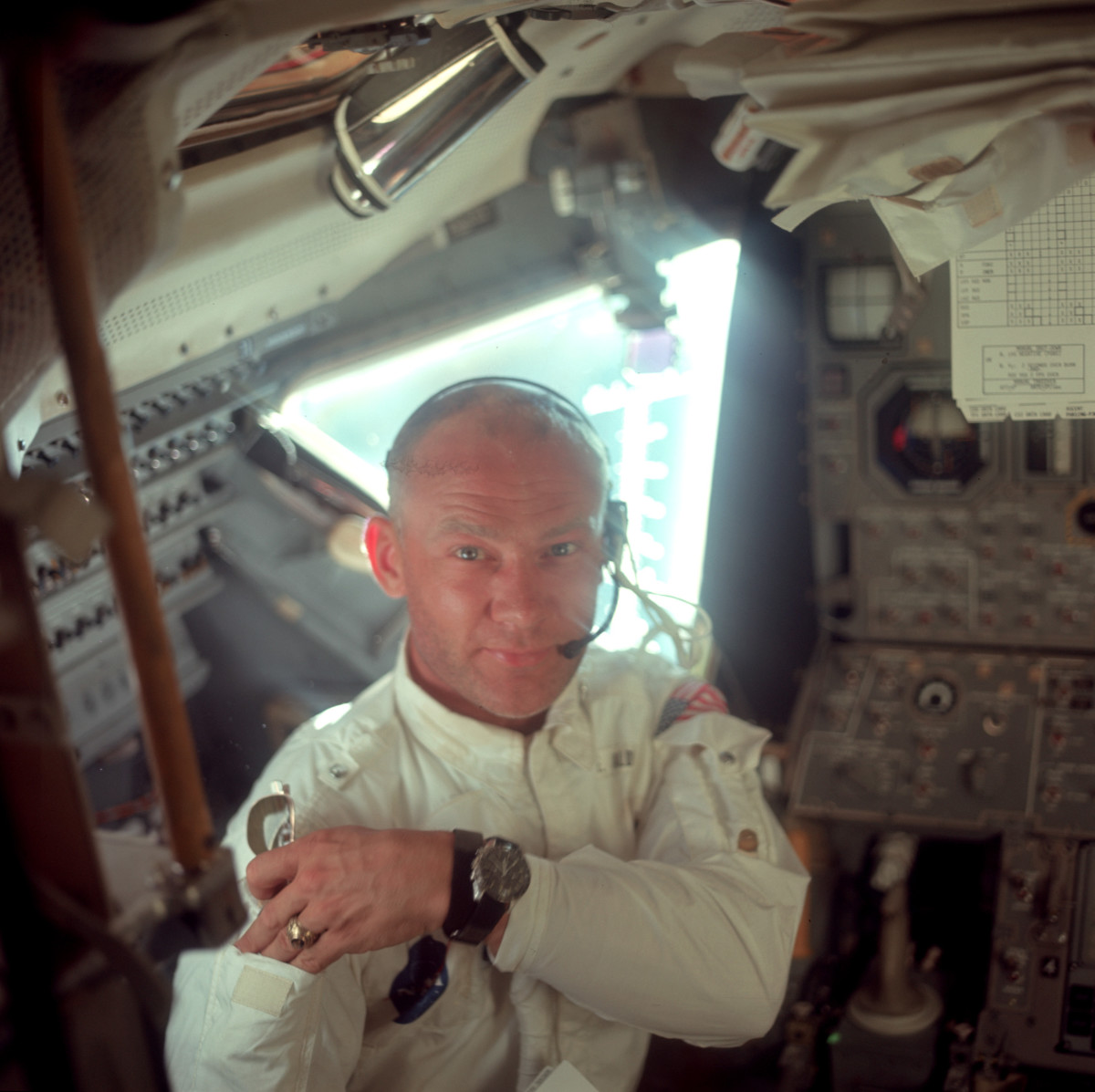 Neil Armstrong took this picture of Buzz Aldrin during their initial inspection of the Lunar Module about 57 minutes after takeoff. Aldrin is wearing his intra-vehicular suit, designed to be flame retardant, and made from the same fabric as the outer layer of the spacesuits.