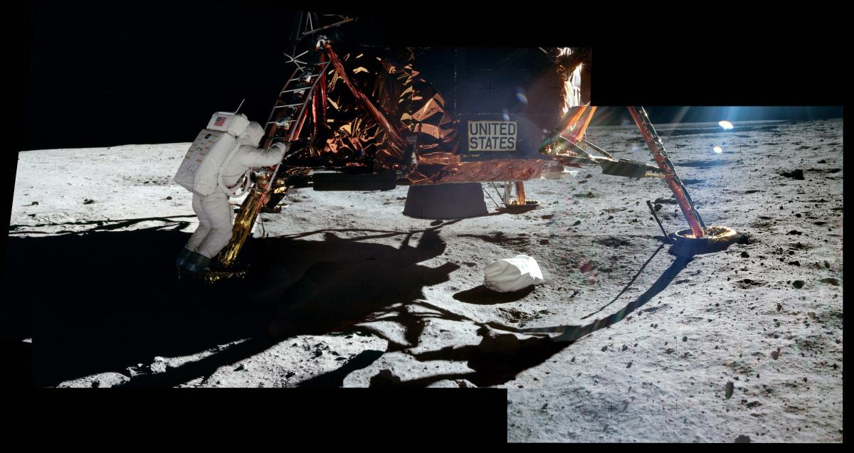 Neil Armstrong, standing on the moon, took these photos of Buzz Aldrin on the footpad of the Lunar Module.