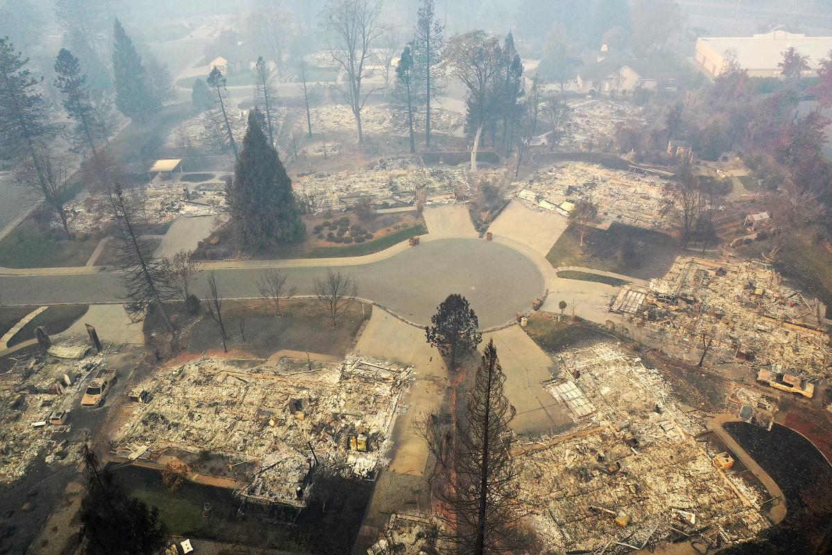 An aerial view of a neighborhood destroyed by the Camp Fire on November 15th, 2018, in Paradise, California.