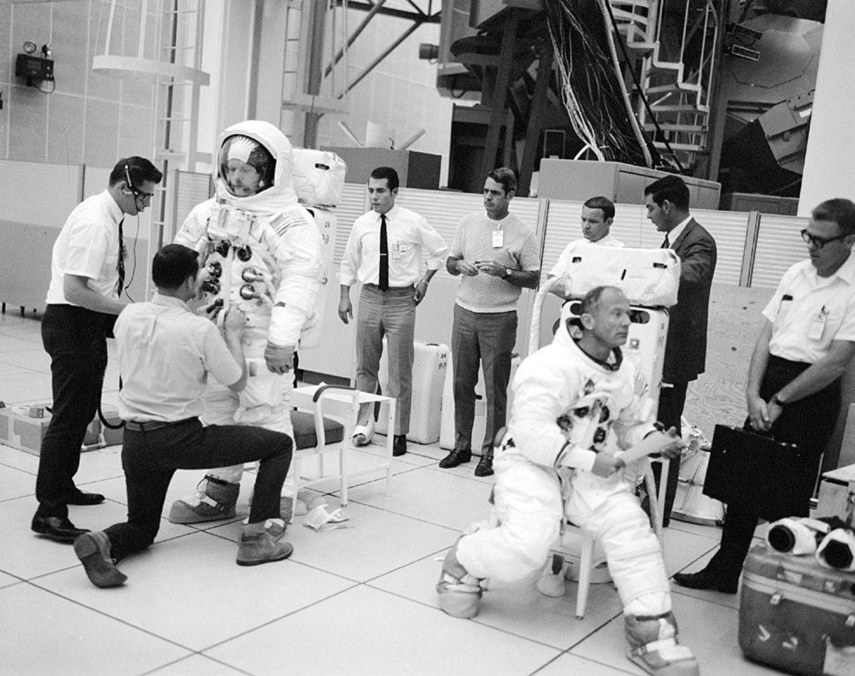 Neil Armstrong (left) and Buzz Aldrin during training.