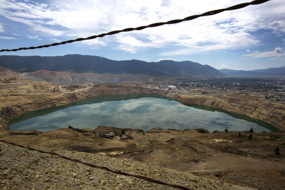 A view of the toxic Berkeley Pit on July 6th, 2017, in Butte, Montana. Formerly an open pit copper mine, the Berkeley Pit is part of the largest Superfund site in the United States.