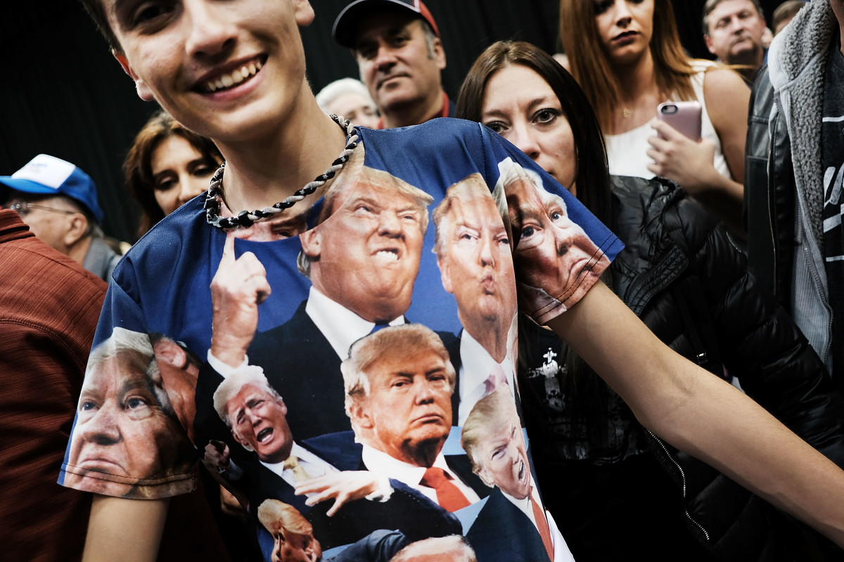 A teenager wears a Donald Trump shirt at a Trump rally on October 22nd, 2016, in Cleveland, Ohio.