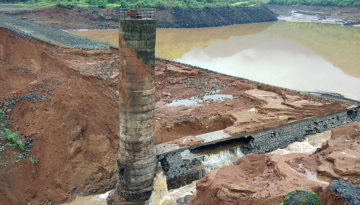 A dam breached in India's western Maharashtra state on July 3rd, 2019.