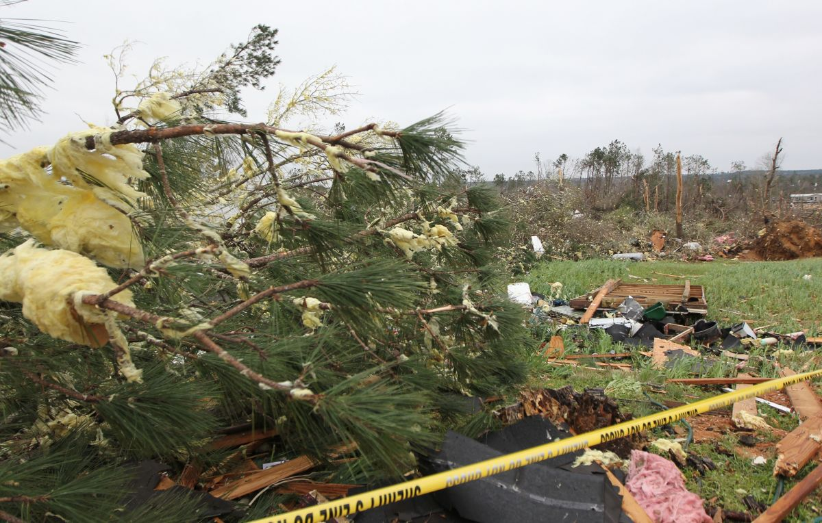 Damage from a tornado that killed at least 23 people in Beauregard, Alabama, pictured on March 4th, 2019.