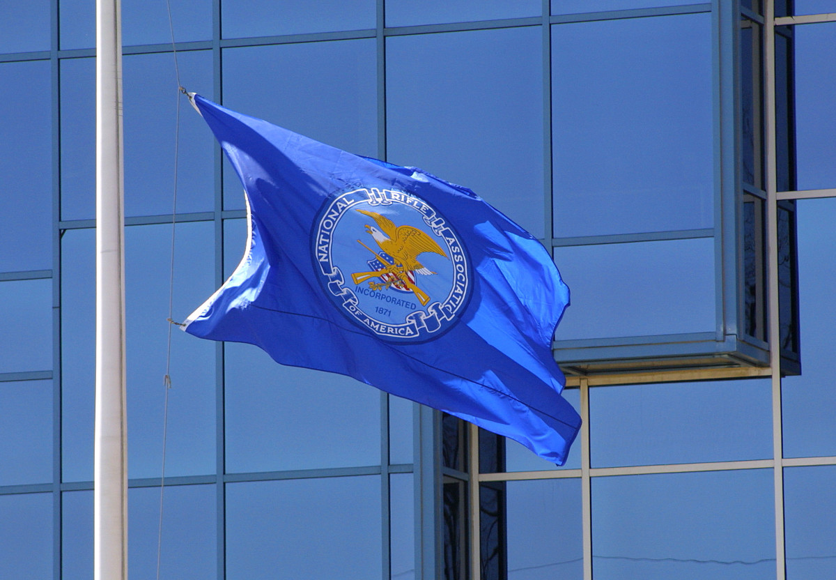 The flag of the NRA at its headquarters in Fairfax, Virginia.