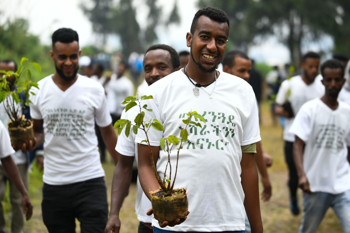 Young Ethiopians take part in a national tree-planting drive in the country's capital, Addis Ababa, on July 28th, 2019. Ethiopia plans to plant four billion trees by October of 2019 as part of a global movement to restore forests to help fight climate change and protect resources. The country says it has planted nearly three billion trees already since May.