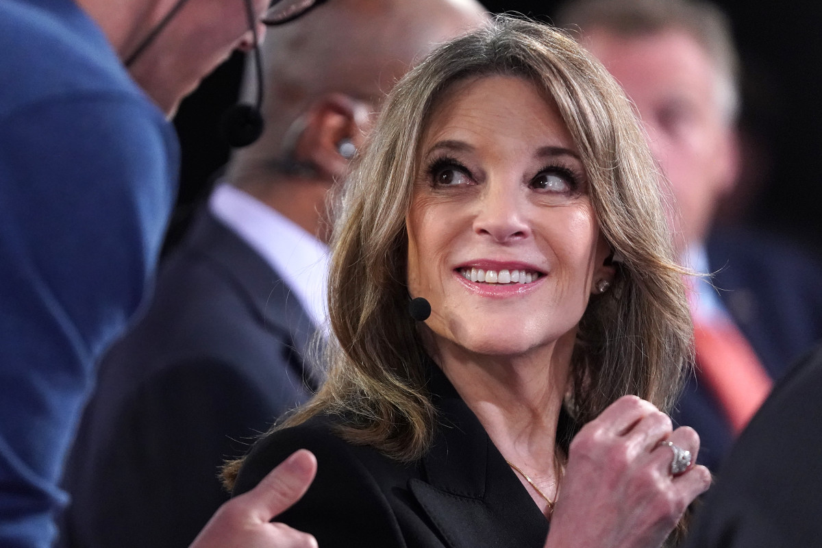 Democratic presidential candidate Marianne Williamson prepares for a television interview after the Democratic Presidential Debate at the Fox Theatre on July 30th, 2019, in Detroit, Michigan.
